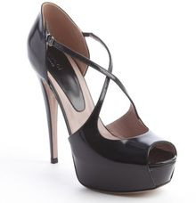 Gucci Black Leather Cross Strap Peep Toe Platform Pumps - Lyst