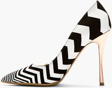 Nicholas Kirkwood Black and White Suede Chevron Pumps - Lyst