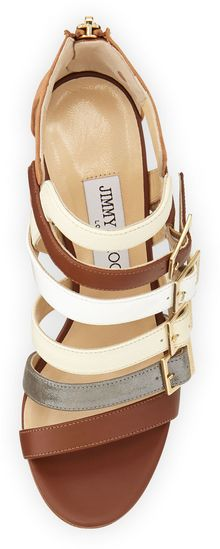 Jimmy Choo Bubble Buckledstrap Sandal Neutral - Lyst