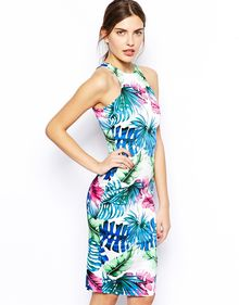 Ax Paris Midi Dress in Tropical Print - Lyst