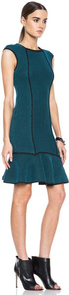 Yigal Azrouel Black Blue Ribbon Knit Dress - Lyst