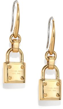 Michael Kors Padlock Drop Earrings - Lyst