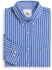 Lacoste Striped Cotton Poplin Sportshirt - Lyst