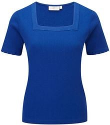 Cc Embroidered Cotton Square Neck Top - Lyst