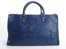 Balenciaga Deep Ocean Blue Distressed Lambskin Leather Large Giant Work Bag - Lyst