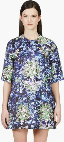 Mary Katrantzou Blue Bead Print Coat - Lyst