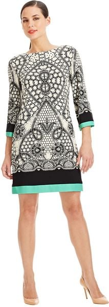 Eliza J Colourblocked Pattern Shift Dress - Lyst