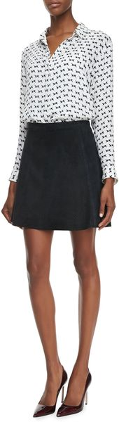 Theory Lonati Perforated Leather Skirt - Lyst