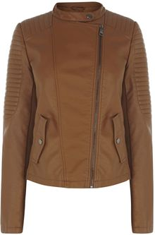 Oasis Sophie Faux Leather Collarless Jacket - Lyst