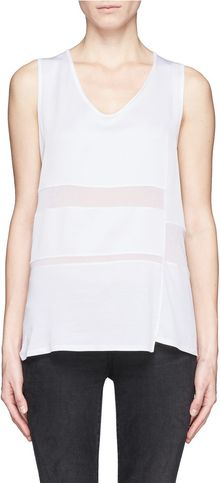 Helmut Lang Sheer Stripe Sleeveless Top - Lyst