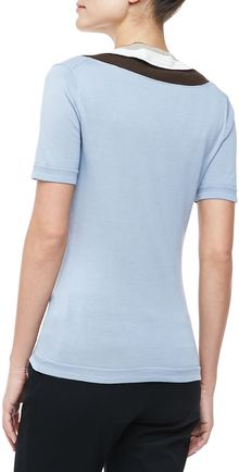 Carolina Herrera Vneck Stripedtrim Top Cornflower - Lyst