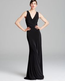 Vera Wang Gown Sleeveless V Neck Matte Jersey Open Back - Lyst