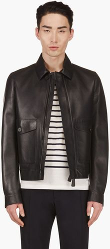 Burberry Prorsum Navy Leather Jacket - Lyst