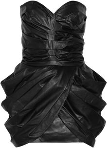 Balmain Gathered Leather Dress - Lyst