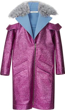 Rodarte Fuchsia Glitter Coat with Shearling Trim - Lyst