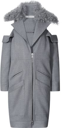 Rodarte Grey Doubleface Wool Coat with Shearling Collar - Lyst