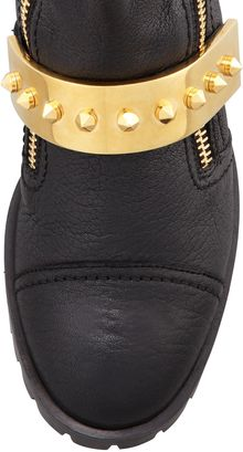 Alexander McQueen Leather Studstrap Moto Boot Black - Lyst
