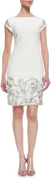 Marchesa Shift Style Beaded Sequined Cocktail Dress Ivory - Lyst