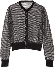 Bottega Veneta Glossed Ayerstrimmed Embroidered Mesh Cardigan - Lyst