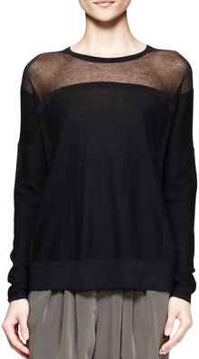 Helmut Lang Sheerpanel Knit Sweater - Lyst