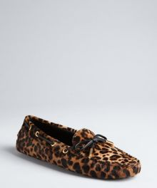 Tod's Light Brown Leopard Print Calf Hair Loafers - Lyst