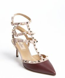 Valentino Ruby and Powder Leather Studded Pyramid Detail Pointed Toe Ankle Strap Pumps - Lyst