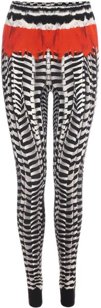 Alexander McQueen Feather Print Leggings - Lyst