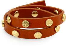 Tory Burch Leather Double-wrap Logo Bracelet - Lyst