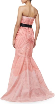 Carolina Herrera Layered Strapless Bowwaist Gown - Lyst