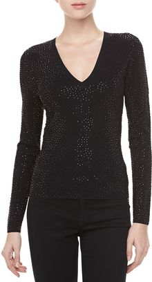 Michael Kors Vneck Top with Stones - Lyst