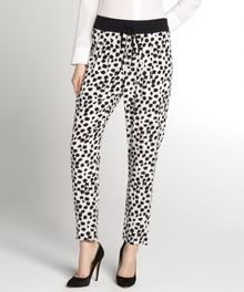 A.L.C. Black and White Printed and Pleated Silk Conley Drawstring Pants - Lyst