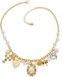 Guess Necklace Goldtone Crystal and Bead Charm Necklace - Lyst