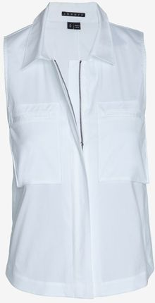 Theory Collared Crop Poplin Blouse - Lyst