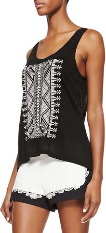Rebecca Minkoff Gia Chevron Patterned Tank Top Black - Lyst