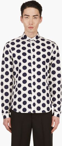 Burberry Prorsum Navy and White Slim Fit Polka Dot Shirt - Lyst