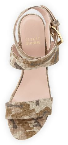 Stuart Weitzman Xray Linen Jute Wedge Tan Camo Made To Order - Lyst