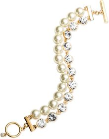Givenchy Goldtone Glass Pearl and Crystal Tworow Toggle Bracelet - Lyst