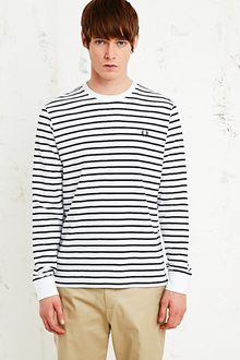 Fred Perry Long Sleeve Stripe Tee in White and Navy - Lyst