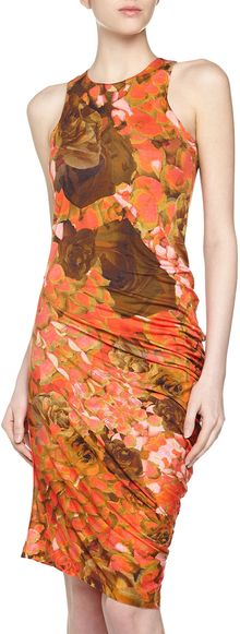 McQ by Alexander McQueen Sleeveless Floralprint Jersey Dress Pinkbeige - Lyst