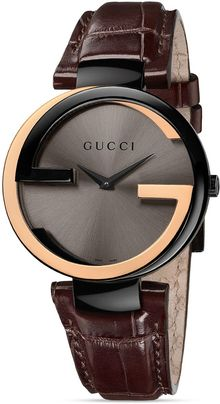 Gucci Interlocking 18k Pink Gold Black Pvd Watch 37mm - Lyst