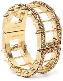 Alexander McQueen Crystal Bar Skull Bangle - Lyst