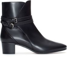Zara Block Heel Leather Ankle Boot with Straps - Lyst