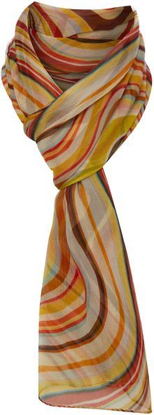 Paul Smith Silk Swirl Crinkle Scarf - Lyst