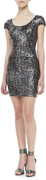 Dress The Population Crackledsequin Openback Dress - Lyst