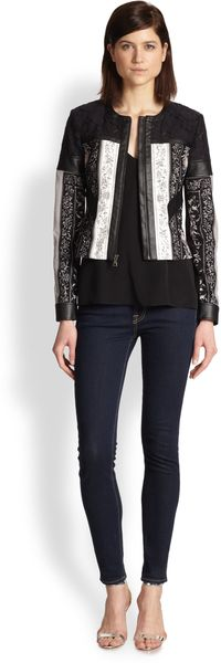 BCBGMAXAZRIA Tarik Mixed-media Printed Jacket - Lyst