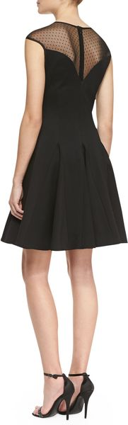 Halston Heritage Capsleeve Ponte Illusion Godet Dress Black - Lyst