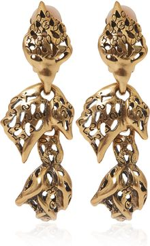 Oscar de la Renta Goldtone Carved Rose Clipon Earrings - Lyst
