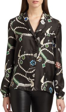 Peter Som Silk Jewel Print Pajama Blouse - Lyst