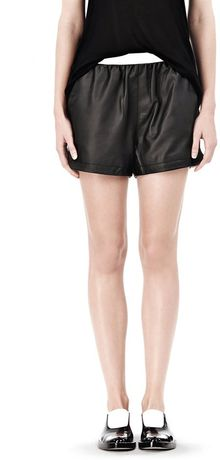 Alexander Wang Leather Shorts with Elastic Waistband - Lyst