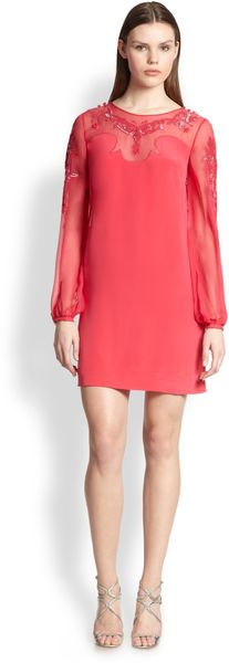 Emilio Pucci Sequined Silk Cady Chiffon Dress - Lyst